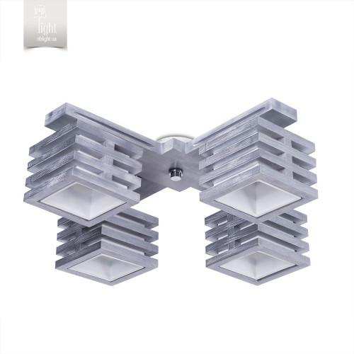 Люстра 4-х ламповая, деревянная, с серебром спальня, кухня, зал, гостиная 18622-1