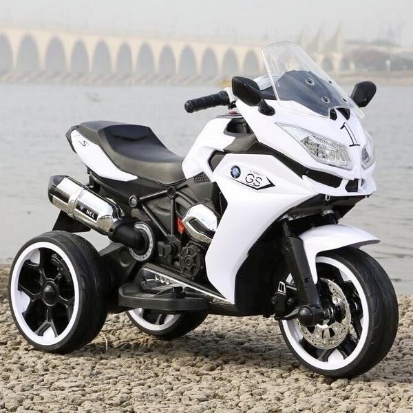 Дитячий електромобіль Мотоцикл M 3688 EL-1, BMW, Шкіряне сидіння, EVA-гума, білий