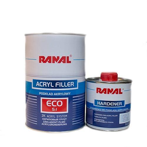 Автомобильный грунт RANAL S-2000 5+1 2К акриловый белый 1л + отвердитель 0,2л