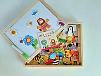 """Деревянная развивающая игрушка досточка """"Ферма"""" с набором магнитов  двухсторонняя"""
