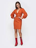 Вечернее Платье-футляр оранжевое мини 44 46 48