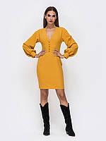 Вечернее Платье-футляр желтое мини 44 46 48