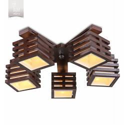 Люстра 5-ти ламповая, деревянная, для зала, для спальни  18655