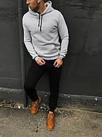 Теплый мужской спортивный костюм - черные спортивные штаны и серая кофта худи/ ОСЕНЬ-ЗИМА