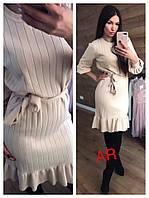 Платье миди вязаное рубчик  с рюшей, на пояске