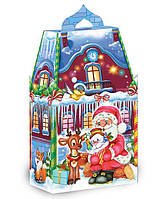 """Упаковка для Новогодних подарков """"Домик Деда Мороза"""" (наполнением до 700 грамм). Набор 10 шт."""