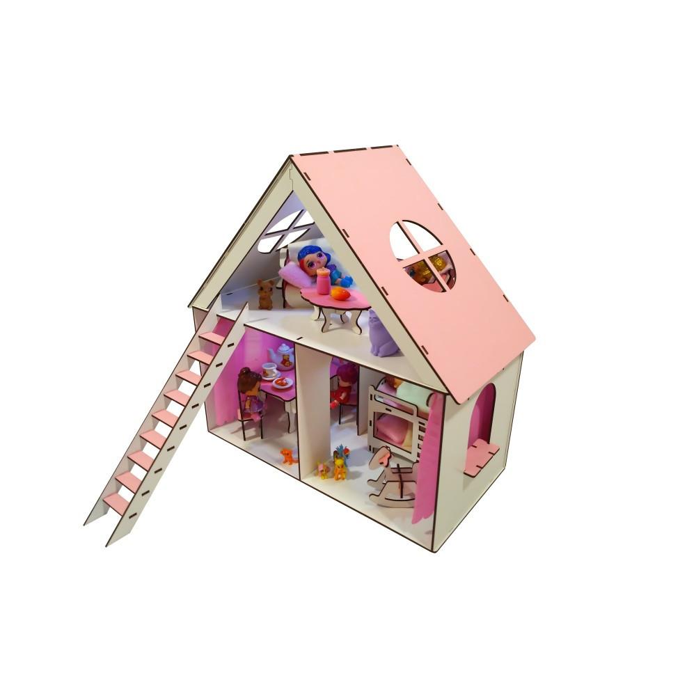 "Домик для кукол Барби. Домик для кукол LOL ""LITTLE FUN""  мебель, шторки, обои, текстиль (400х200х400 мм)"