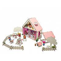 "Домик для кукол LOL ""LITTLE FUN"" с Двориком, обоями, шторками, мебелью, текстилем и лестнице (400х200х400 мм)"