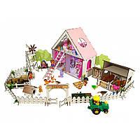 """Домик для кукол LOL """"LITTLE FUN"""" с Фермой, обоями, шторками, мебелью, текстилем и лестницей (400х200х400 мм)"""