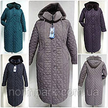 Зимнее женское приталенное стеганное пальто, баталл VS 157