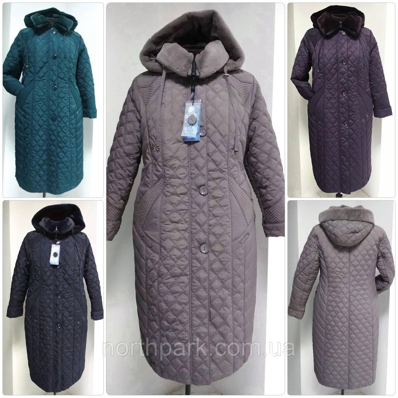 Зимове жіноче приталене стеганное пальто, баталл VS 157