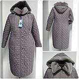 Зимнее женское приталенное стеганное пальто, баталл VS 157, фото 2