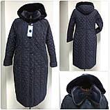 Зимнее женское приталенное стеганное пальто, баталл VS 157, фото 4