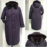 Зимнее женское приталенное стеганное пальто, баталл VS 157, фото 3