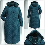 Зимнее женское приталенное стеганное пальто, баталл VS 157, фото 5