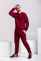 Теплый мужской спортивный костюм - бордовый свитшот и бордовые штаны / ОСЕНЬ-ЗИМА