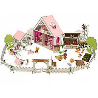 """Домик для кукол LOL """"LITTLE FUN"""" с Двориком и Фермой, обои, шторки, мебель, текстиль (400х200х400 мм)"""