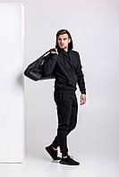 Зимний мужской спортивный костюм - черная худи и черные штаны / ОСЕНЬ-ЗИМА