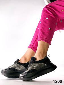 Чёрные кожаные кроссовки с никелевыми вставками на литой подошве 36-40 р