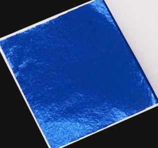 Поталь цветная в листах (фольга для декорирования), Синяя, 8*8,5 см, 50 листов