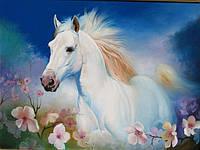 Картина для спальни маслом купить Лошадь в цветах