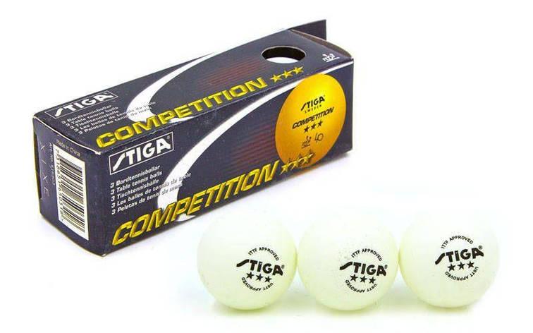 Шарик для настольного тенниса STIGA CUP MT-4578 (целлулоид, d-40мм, белый) Replika, фото 2