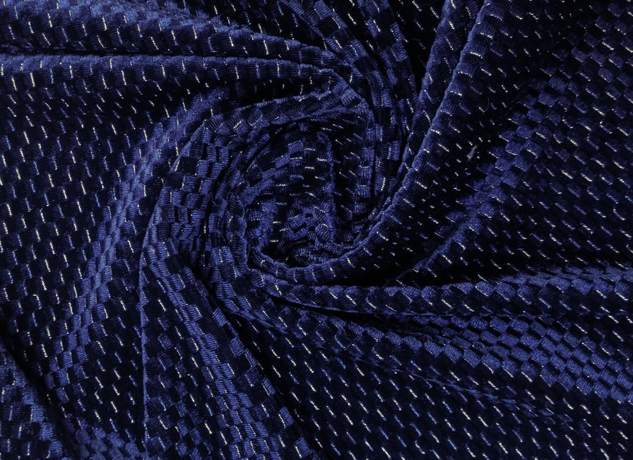 Бархат с люрексом соты 5 мм, темно-синий