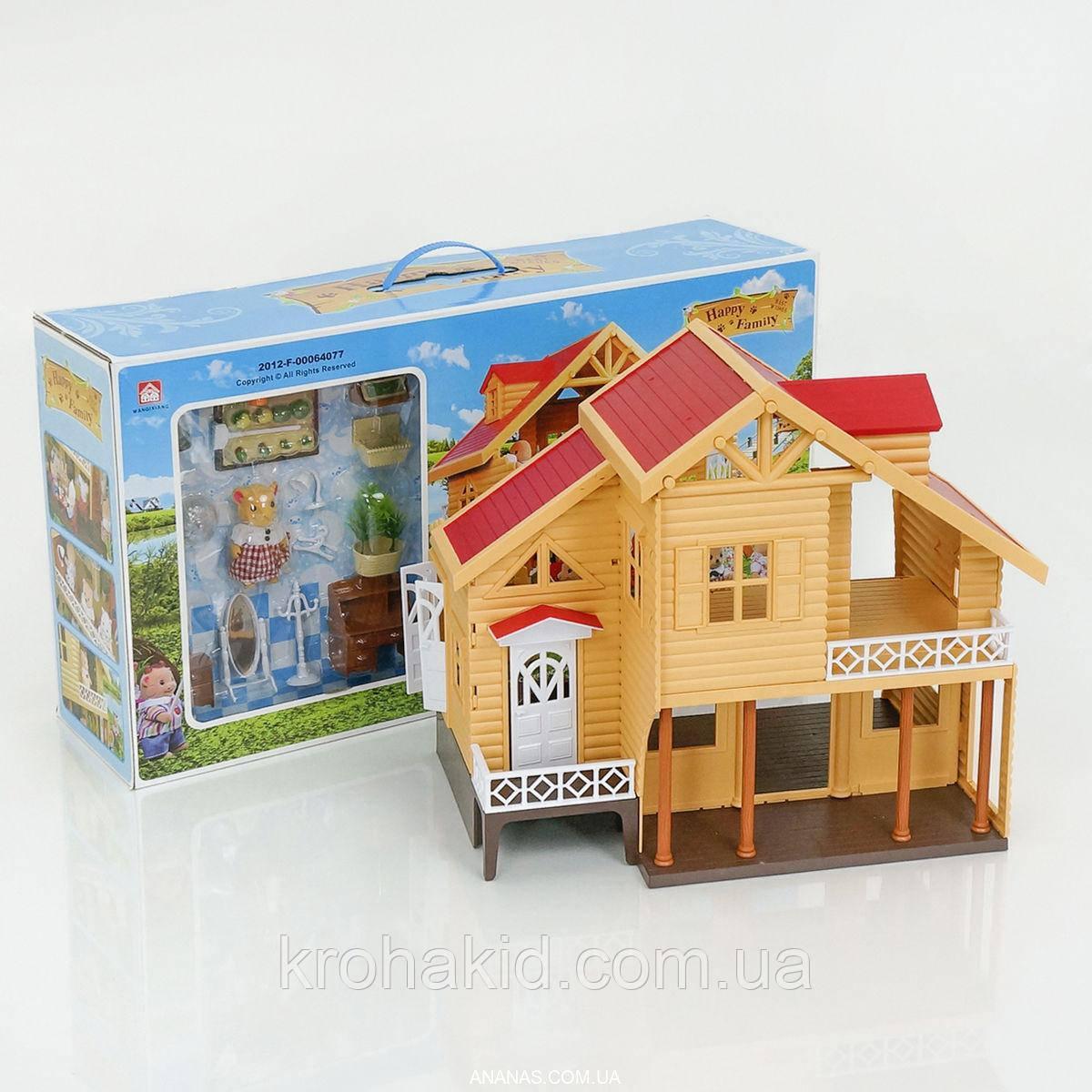 Будиночок з флоксовыми тваринами Happy Family 012-03 Заміський Будиночок (аналог Sylvanian Families)