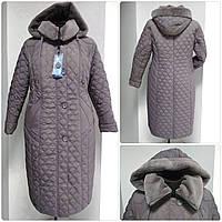 Зимнее женское приталенное стеганное пальто, баталл VS 157 Бежевый, 66, фото 1