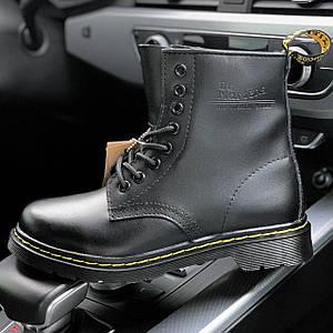 Мужские и женские зимние ботинки Dr. Martens 1460 Black с мехом, унисекс