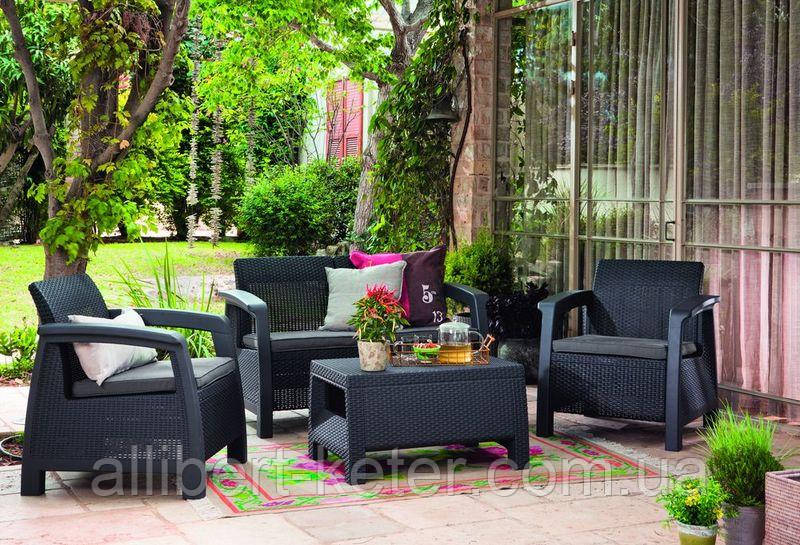 Набор садовой мебели Bahamas Set Graphite ( графит ) из искусственного ротанга