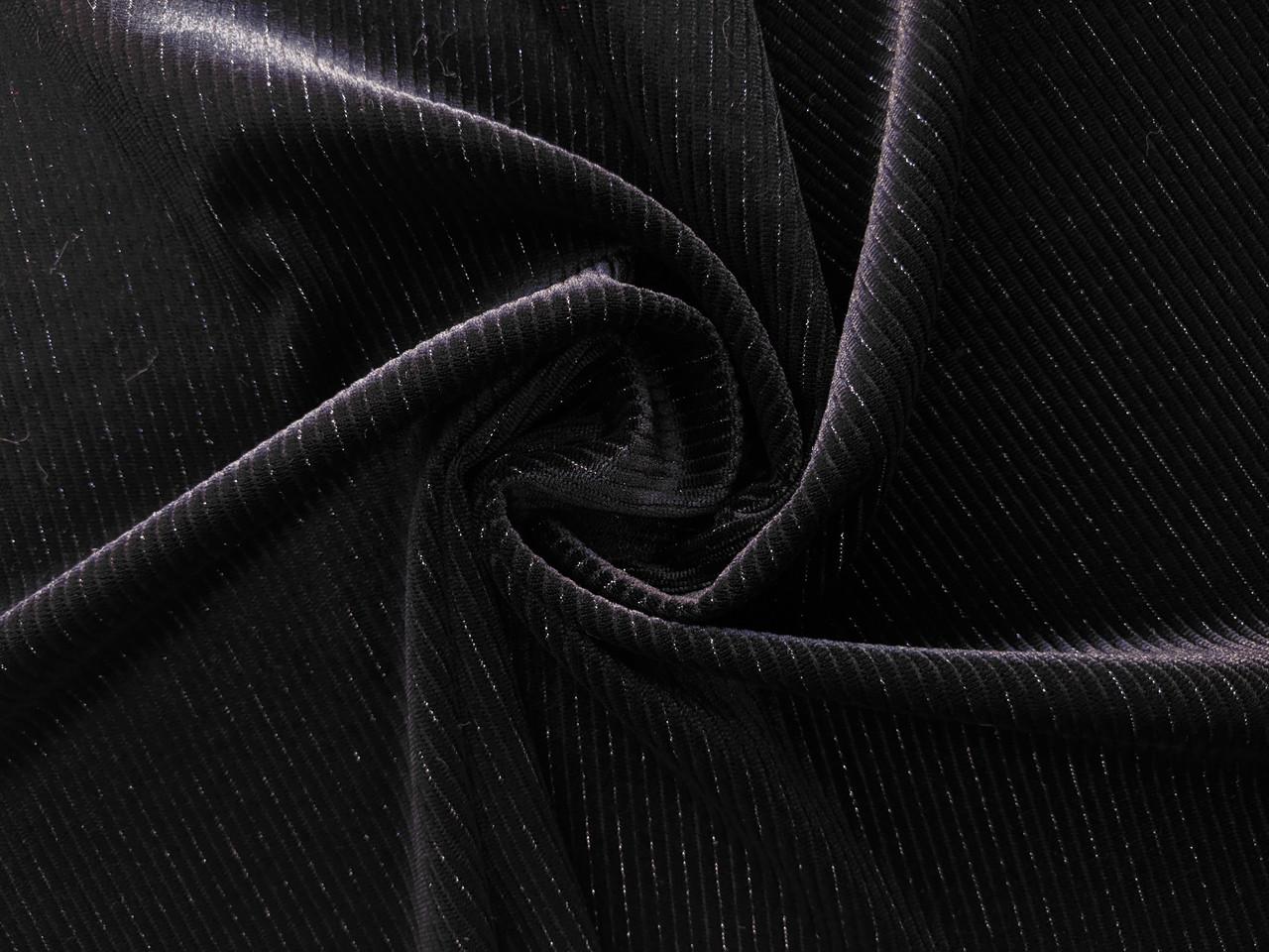 Бархат с люрексом полоска 3мм, черный