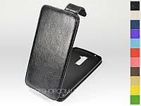 Откидной чехол из натуральной кожи для LG K430 Dual Sim