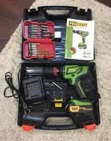 Шуруповерт аккумуляторный Procraft PA18PRO с DFR патроном, набором сверл и бит
