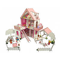 """Домик для кукол LOL """"Солнечная Дача"""" с Двориком с обоями, шторками, мебелью и текстилем (620х400х400 мм)"""