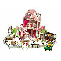 """Домик для кукол LOL """"Солнечная Дача"""" с фермой с обоями, шторками, мебелью и текстилем (620х400х400 мм)"""