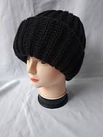 Женская зимняя шапка с отворотом черная