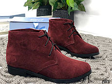 37р. Ботинки женские деми бордовые замшевые на низком ходу,демисезонные,из натуральной замши,натуральная замша
