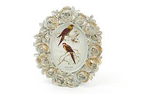 Рамка для фото овальная 11*13см Розы, цвет - мята с золотом BonaDi 450-132