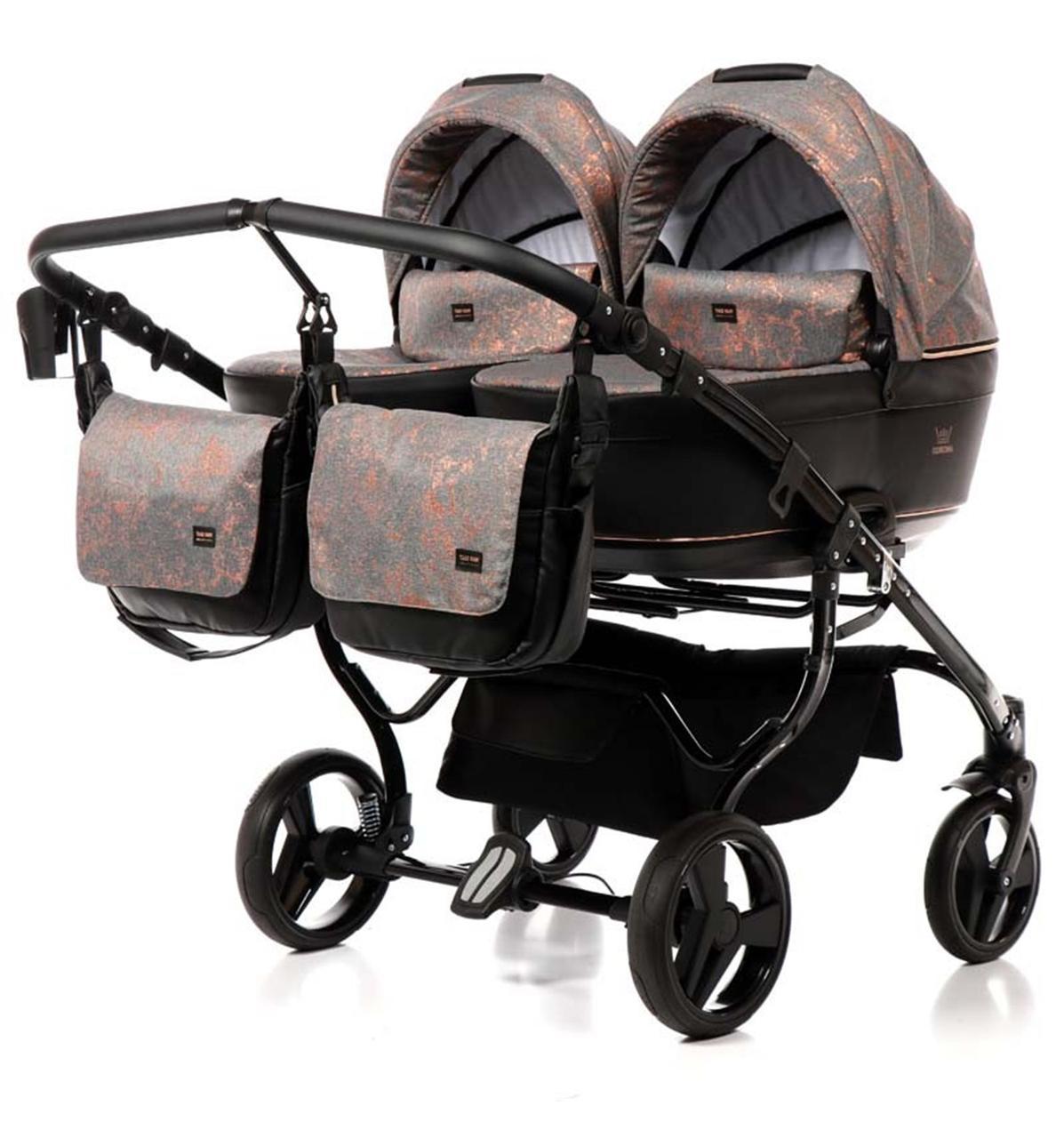 Универсальная коляска для двойни Tako Corona Duo 01 бронзовая