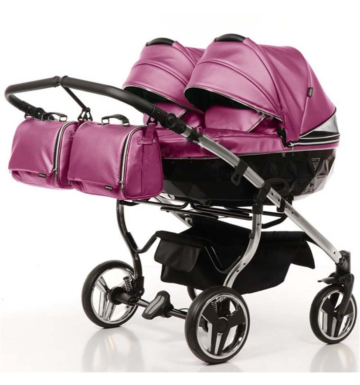 Универсальная коляска для двойни Junama Fluo Duo розовая