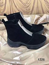 Чорні жіночі замшеві черевики на блискавці 36-40 р, фото 3