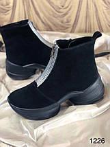 Чорні жіночі замшеві черевики на блискавці 36-40 р, фото 2