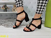 Босоножки на низком толстом каблуке черные, фото 1