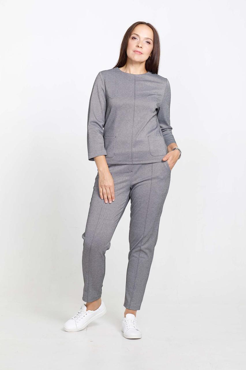 Теплые женские классические брюки большие размеры серые Modna KAZKA