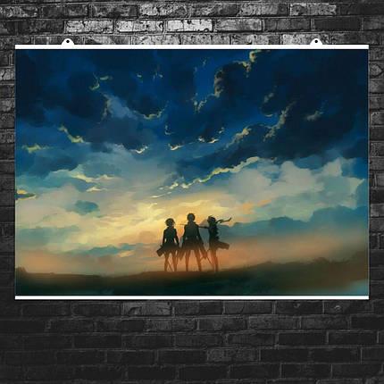 "Постер ""Атака На Титанов. Главные герои на фоне заката"". Attack on Titans. Размер 60x43см (A2). Глянцевая бумага, фото 2"