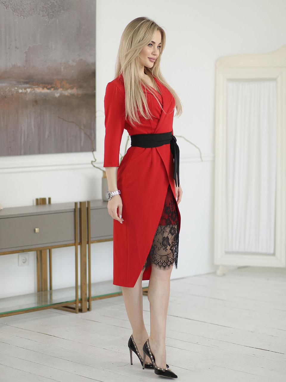 Нарядное красное Платье на запах
