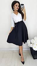 Женское платье трапециевидной формы с поясом 3/4 рукав