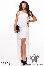 Платье нарядное гипюровое с разрезом в пол в расцветках