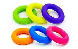 Эспандер кистевой Кольцо (1шт) FI-5107-40LB (резина, d-9см, нагрузка 40LB(18кг), зеленый, розовый)